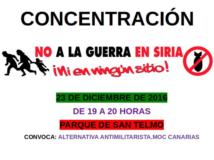 No a la guerra en Siria Las Palmas 23-12-2016